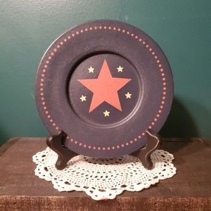Wood Star Plate in Navy